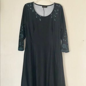 Reborn Black Floral Maxi Dress Teal Floral Pockets